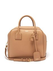 Burberry Cube Medium Grained Leather Bowling Bag Beige