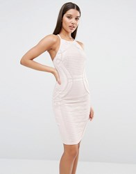Lipsy High Neck Lace Pencil Dress Nude Pink
