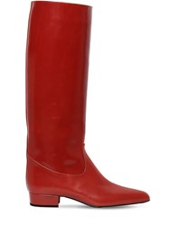 Nina Ricci 20Mm Polished Leather Tall Boots Red
