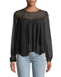 7 For All Mankind Gathered Front Illusion Silk Blouse Black