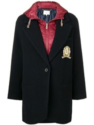 Tommy Hilfiger Contrast Single Breasted Coat Blue