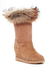 Australia Luxe Collective Foxy Tall Hidden Wedge Genuine Fox Fur And Shearling Boot Gray