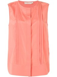 Tory Burch Pleat Detail Sleeveless Top Pink And Purple