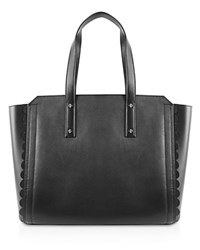 Ivanka Trump Soho Solutions Leather Work Tote Black Silver