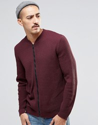Asos Knitted Cable Bomber In Burgundy Burgundy Red