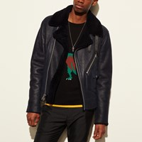 Coach Shearling Motorcycle Jacket Navy