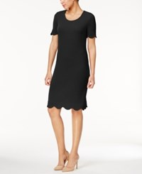 Ny Collection Textured Scalloped Dress Black