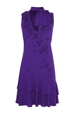 Karen Millen Blue Pussy Bow Dress Purple