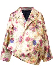 Comme Des Garcons Floral Print Oversized Jacket Yellow And Orange