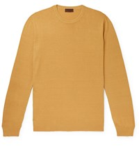 Altea Slim Fit Linen And Cotton Blend Sweater Yellow