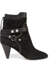 Isabel Marant Raya Leather Trimmed Suede Ankle Boots Black