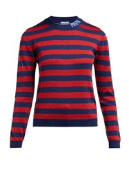Prada Logo Intarsia Metallic Striped Sweater Red Multi