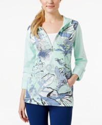 Styleandco. Style And Co. Sport Half Zip Printed Hoodie Only At Macy's Pale Mint