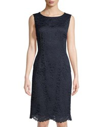 Tahari By Arthur S. Levine Jackie Lace Sheath Dress Navy