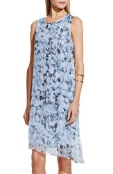 Women's Vince Camuto 'Broken Prism' Print Asymmetrical Chiffon Overlay Shift Dress Echo Blue