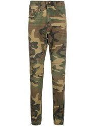 R 13 R13 Camouflage Print Slim Fit Trousers 60