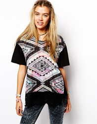 Your Eyes Lie T Shirt With Tassel Front And All Over Aztec Print Multi