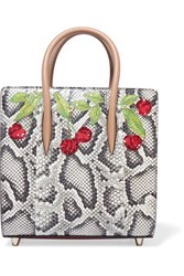 Christian Louboutin Paloma Small Embellished Elaphe And Metallic Textured Leather Tote Snake Print