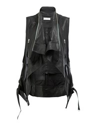 Faith Connexion Sleeveless Pointy Leather Jacket Black