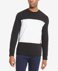 Kenneth Cole Reaction Men's Pieced Colorblocked Sweatshirt Black