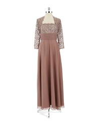 Cachet Lace Jacket Dress Mocha