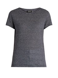 A.P.C. Lilo Striped Linen Jersey T Shirt Navy White