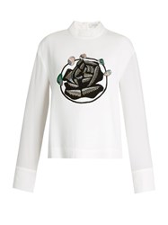 J.W.Anderson Floral Embroidered Crepe Top White