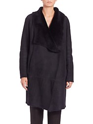 Lafayette 148 New York Felice Suede And Shearling Coat Ink