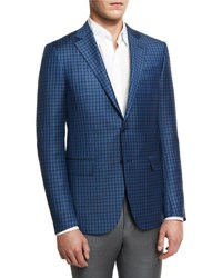 Ermenegildo Zegna Check Two Button Sport Coat Blue