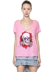 Unravel Skull Print Destroyed Jersey T Shirt