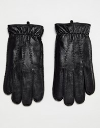 Dents Deerhurts Leather Gloves With Faux Fur Lining Black
