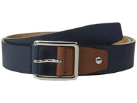 Cole Haan 35Mm Flat Stitch Strap Pebble Leather Pop Color Tab Navy British Tan Men's Belts