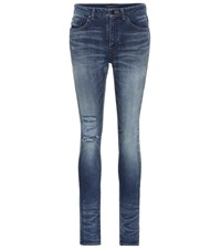 Saint Laurent Distressed Skinny Jeans Blue
