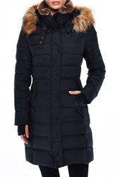 Sam. S13 Uptown Matte Chelsea Water Repellent Quilted Coat With Faux Fur Trim Black