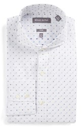 Michael Bastian Men's Big And Tall Trim Fit Graphic Dobby Dress Shirt White Blue