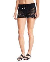 Letarte Skull Lace Coverup Shorts Black