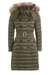 Burberry London Parka With Fur Trimmed Hood Green