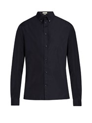 Balenciaga Button Down Collar Cotton Poplin Shirt Navy