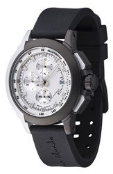 Men's Ritmo Mundo 'Quantum Ii' Chronograph Silicone Strap Watch 43Mm Black White