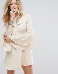 Honey Punch Button Front Tea Dress With Flared Sleeves And Tie Neck Detail Beige
