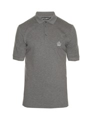 Dolce And Gabbana Crown Embroidered Polo Shirt Dark Grey