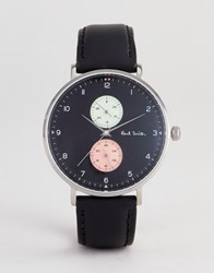 Paul Smith Ps0070004 Track Design Leather Watch In Black 42Mm