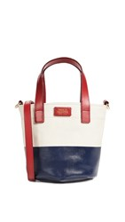 Frances Valentine Small Canvas Tote Bag Natural Navy