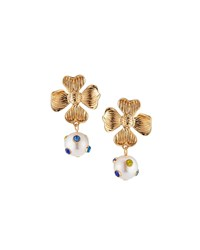 Lydell Nyc Flower Drop Earrings W Crystals Multi