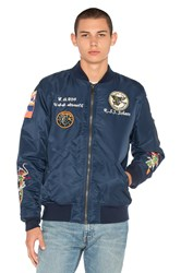 Schott Nylon Ma 1 Flight Souvenir Jacket Blue