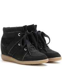 Isabel Marant Etoile Bobby Suede Wedge Sneakers Black