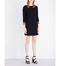 French Connection Crystal Shot Jersey Dress Black Silver
