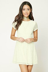Forever 21 Lace Skater Mini Dress Cream
