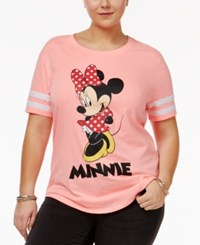 Hybrid Trendy Plus Size Minnie Graphic T Shirt Neon Coral White Stripes