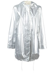 Paco Rabanne Metallic Grey Parka Coat